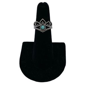 Vintage Bohemian Turquoise Crown Sterling Ring